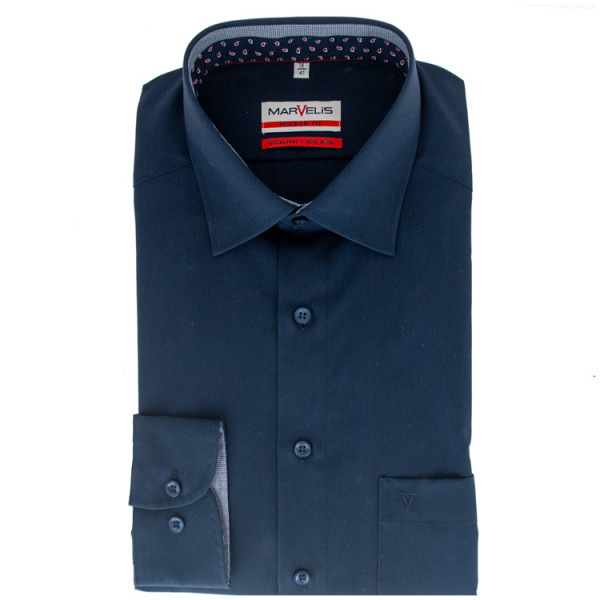 Marvelis MODERN FIT Hemd UNI POPELINE dunkelblau mit New Kent Kragen in moderner Schnittform