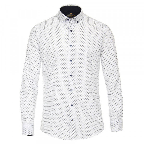 Redmond MODERN FIT Hemd PRINT weiss mit Kent Kragen in moderner Schnittform