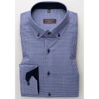 Eterna Hemd MODERN FIT TWILL KARO dunkelblau mit Button Down Kragen in moderner Schnittform