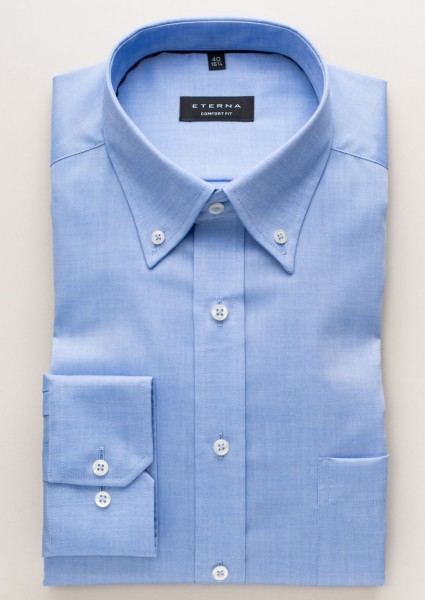 Eterna Hemd COMFORT FIT FEIN OXFORD mittelblau mit Button Down Kragen in klassischer Schnittform