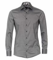Venti Hemd MODERN FIT STRUKTUR schwarz mit Kent Kragen in moderner Schnittform