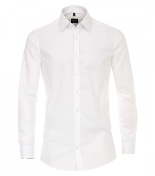 Venti Hemd BODY FIT UNI POPELINE weiss mit Kent Kragen in schmaler Schnittform