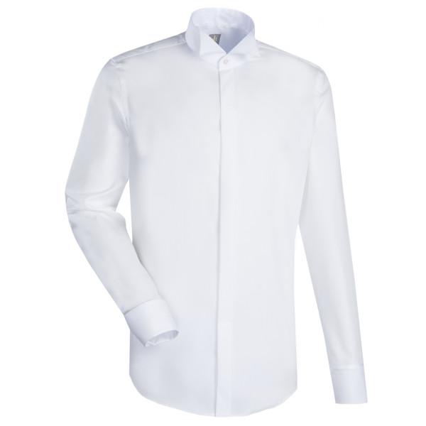 Jacques Britt SLIM FIT Hemd UNI POPELINE weiss mit Kläppchen Kragen in schmaler Schnittform