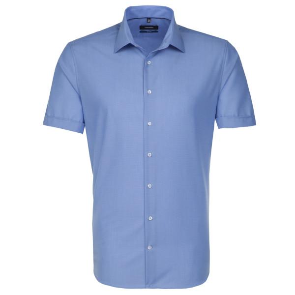 Seidensticker SHAPED Hemd FIL Á FIL mittelblau mit Business Kent Kragen in moderner Schnittform