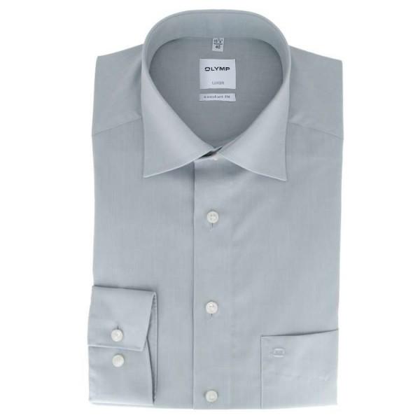 OLYMP Luxor comfort fit Hemd CHAMBRAY grau mit New Kent Kragen in klassischer Schnittform
