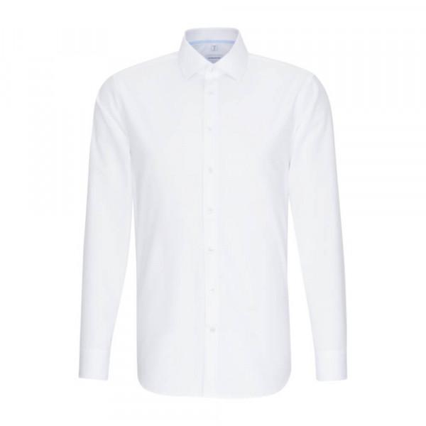 Seidensticker Hemd SLIM FIT UNI POPELINE weiss mit Business Kent Kragen in schmaler Schnittform
