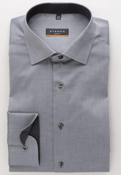 Eterna Hemd SLIM FIT UNI STRETCH grau mit Classic Kent Kragen in schmaler Schnittform