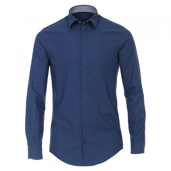 Redmond SLIM FIT Hemd UNI POPELINE dunkelblau mit Kent Kragen in schmaler Schnittform