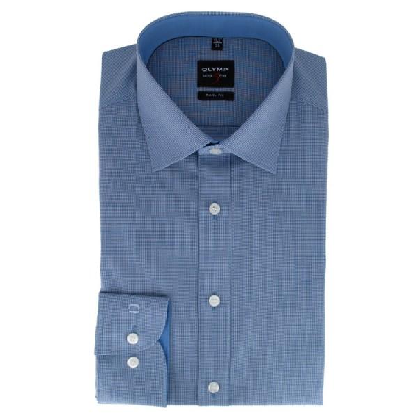 OLYMP Level Five body fit Hemd FAUX UNI dunkelblau mit New York Kent Kragen in schmaler Schnittform