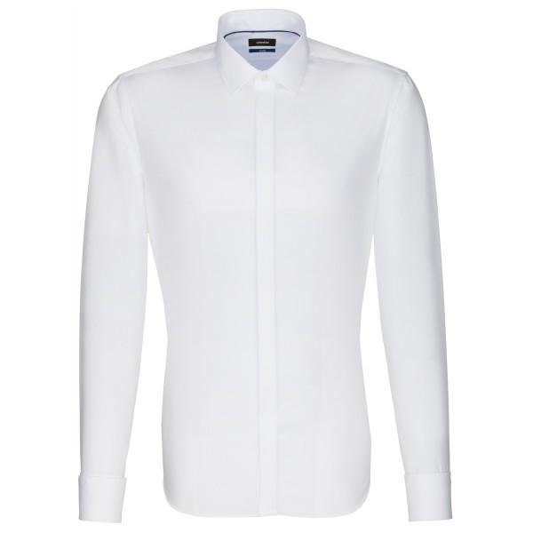 Seidensticker SHAPED Hemd UNI POPELINE weiss mit Business Kent Party Kragen in moderner Schnittform