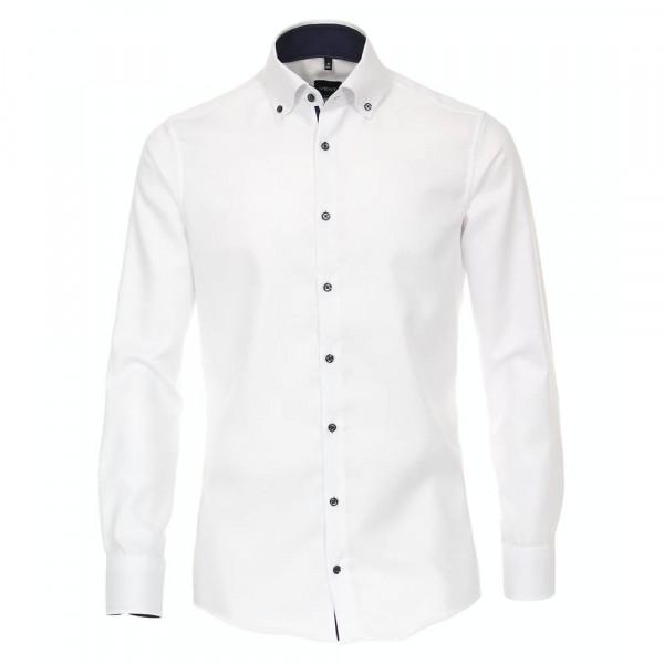 Venti Hemd MODERN FIT STRUKTUR weiss mit Button Down Kragen in moderner Schnittform