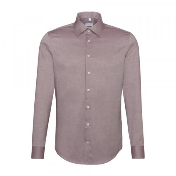 Seidensticker Hemd SHAPED STRUKTUR dunkelrot mit Business Kent Kragen in moderner Schnittform