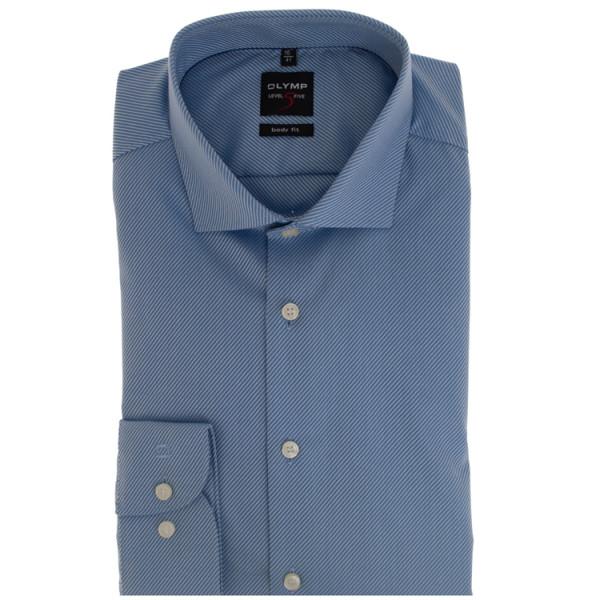 OLYMP Level Five body fit Hemd TWILL hellblau mit Royal Kent Kragen in schmaler Schnittform