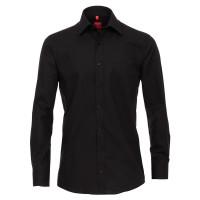 Redmond COMFORT FIT Hemd UNI POPELINE schwarz mit Kent Kragen in klassischer Schnittform