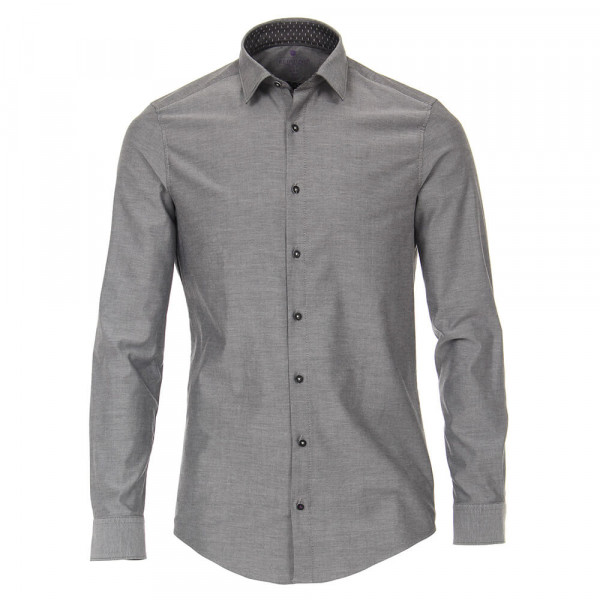 Redmond SLIM FIT Hemd UNI POPELINE grau mit Kent Kragen in schmaler Schnittform
