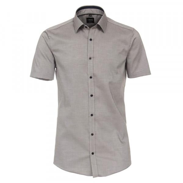 Venti Hemd BODY FIT STRUKTUR beige mit Kent Kragen in schmaler Schnittform
