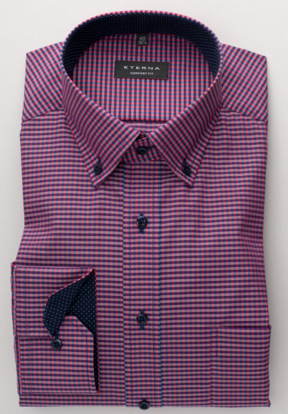 Eterna Hemd COMFORT FIT VICHY POPELINE rot mit Classic Kent Kragen in klassischer Schnittform