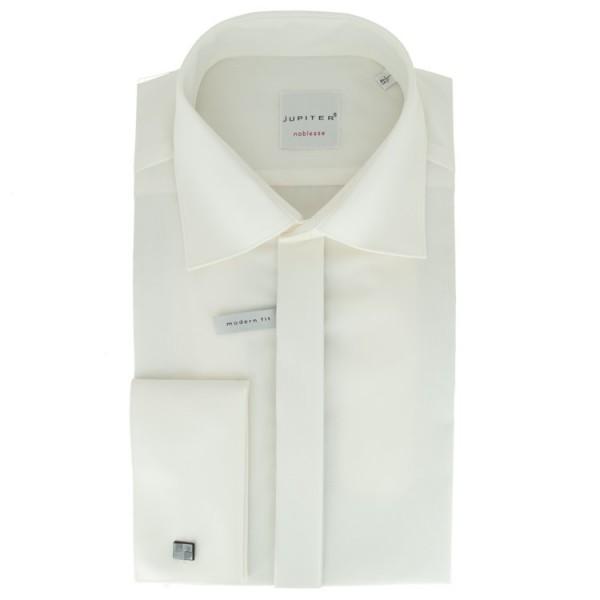 """Jupiter Hemd """"Popeline"""" beige mit Kent Kragen und verdeckter Knopfleiste in moderner Schnittform"""