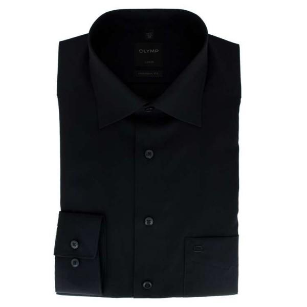 OLYMP Luxor modern fit Hemd UNI POPELINE schwarz mit New Kent Kragen in moderner Schnittform