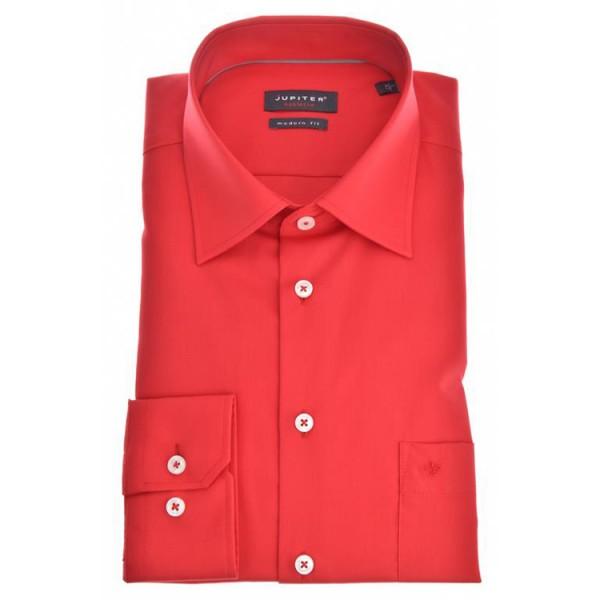 "Jupiter Hemd ""Popeline"" rot mit Kent Kragen in moderner Schnittform"