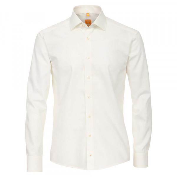 Redmond MODERN FIT Hemd UNI POPELINE beige mit Kent Kragen in moderner Schnittform