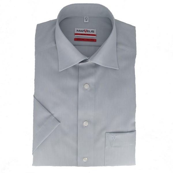 Marvelis MODERN FIT Hemd CHAMBRAY grau mit New Kent Kragen in moderner Schnittform