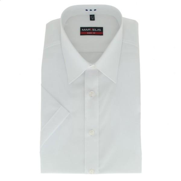 Marvelis BODY FIT Hemd UNI POPELINE weiss mit New York Kent Kragen in schmaler Schnittform