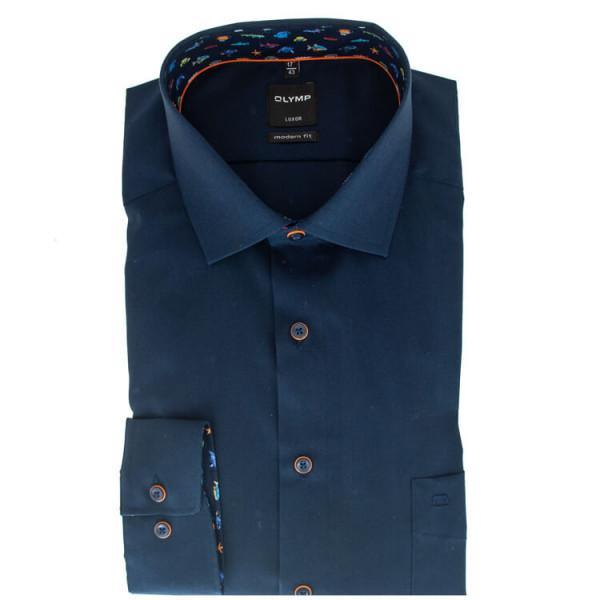 OLYMP Level Five body fit Hemd UNI POPELINE dunkelblau mit Global Kent Kragen in schmaler Schnittform