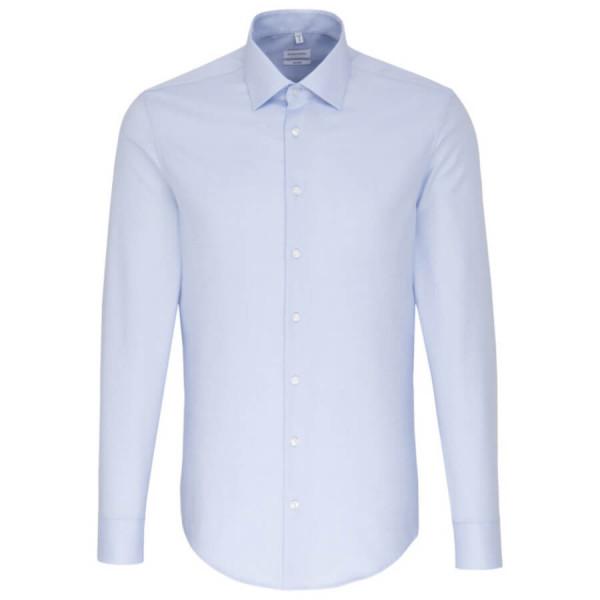 Seidensticker SHAPED Hemd STRUKTUR hellblau mit Business Kent Kragen in moderner Schnittform